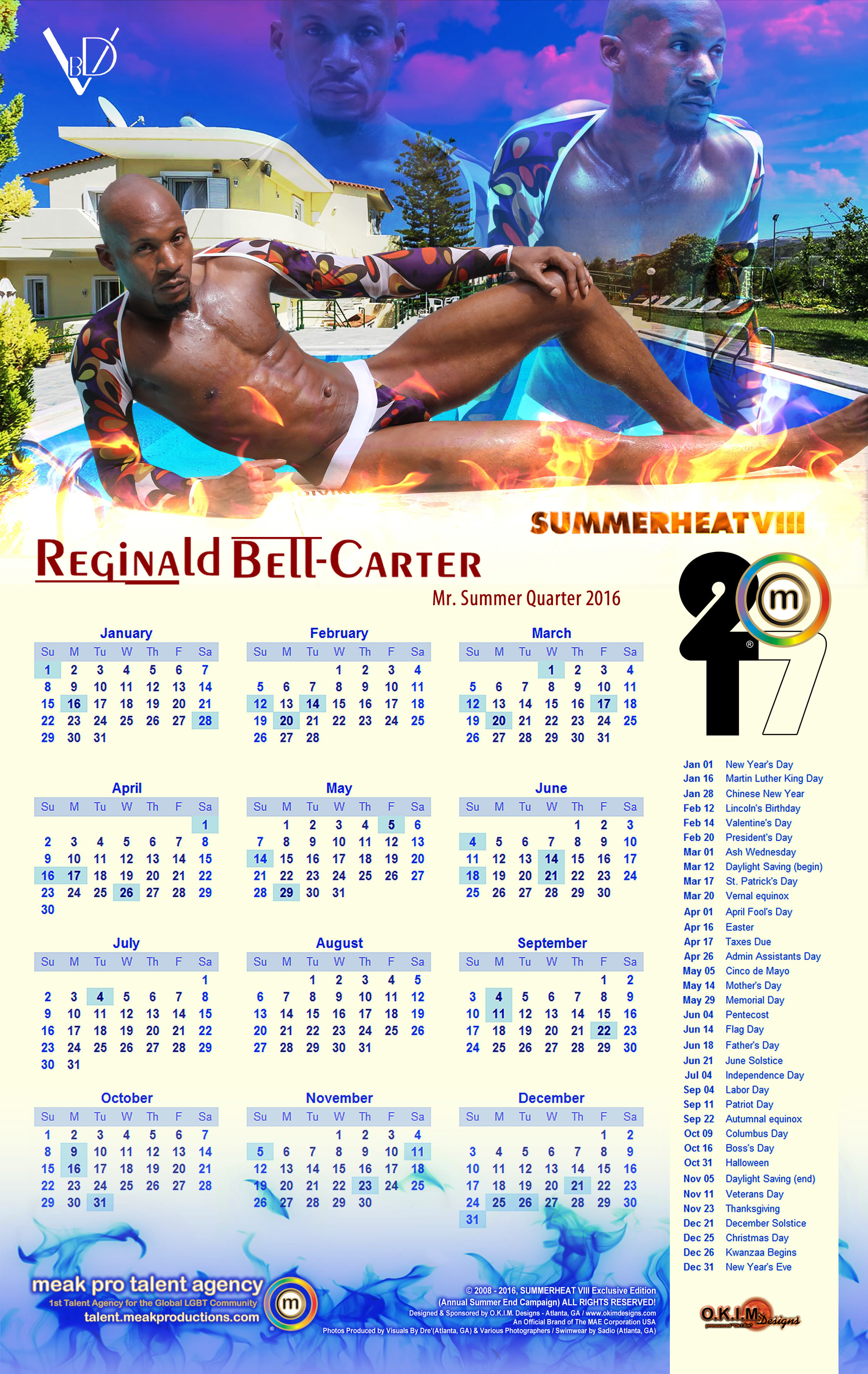Reginald Bell Carter 1st 2017 Solo Wall Calendar